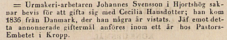 Klippet kommer från Post- och Inrikes Tidningar 25 januari 1841
