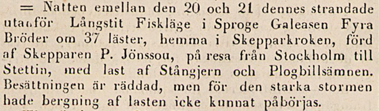 Klippet kommer från Post- och inrikes tidningar 6 november 1841
