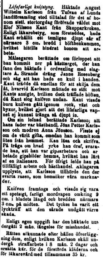 Klippet kommer från Norra Skåne den 12 februari 1895.