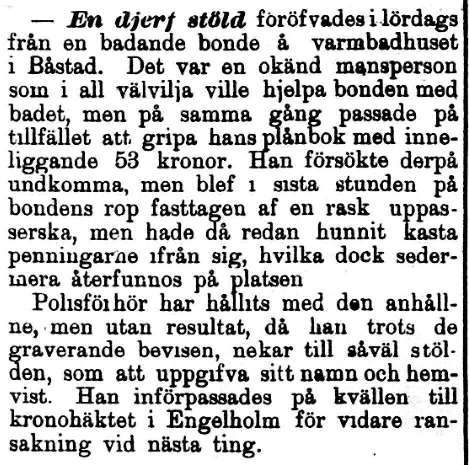 Klippet kommer från Norra Skåne den 1 september 1897