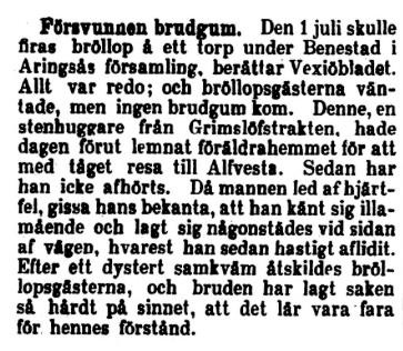 Klippet kommer från Tidning för Wenersborgs stad och län den 11 juli 1898