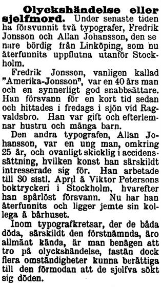Klippet kommer från Östgötaposten den 14 juli 1899