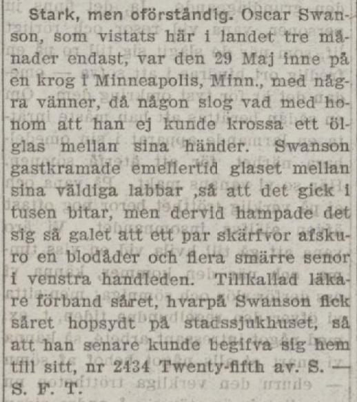 Klippet kommer från Svenska Tribunen den 10 juni 1903. Tidningen gavs ut i USA.